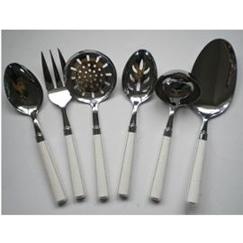 Juego de accesorios para cocina en base de metal con mango imitación piel blanca