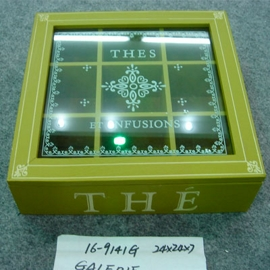 Caja de madera con tapa de vidrio para Té c/ 9 espacios  verde de 24x24x7cm