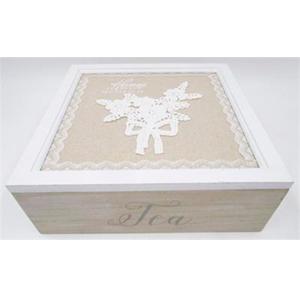 Caja de madera  p/Té con 9 espacios diseño de flores en la cubierta 24x24x7cm