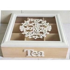 Caja de madera  p/Té con 9 espacios  diseño textos y flores en la cubierta 24x24x7cm