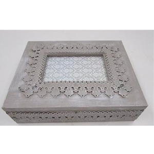 Caja de madera  p/Té con 9 espacios gris con diseño de grecas 24x24x7cm