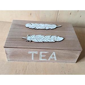 Caja de madera  p/Té con 6 espacios diseño Plumas blancas de 24x16x7cm