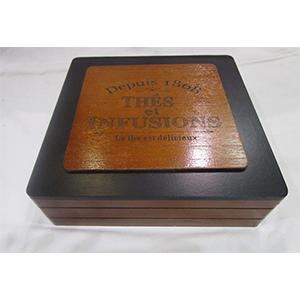 Caja de madera  p/Té con 9 espacios diseño textos de 24x24x7cm