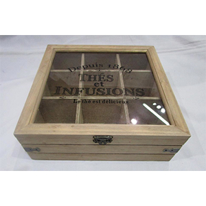 Caja de madera  p/Té con 9 espacios con tapa de cristal con textos de 23x23x8cm