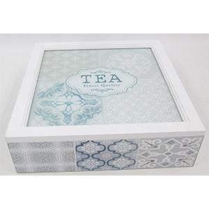 Caja de madera  blanca p/Té con 9 espacios con tapa de cristal de 24x24x7cm