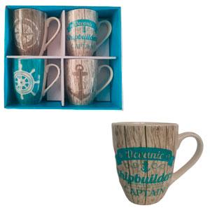 Juego de 4 Tazas para café estampado Retablos con diseños marinos