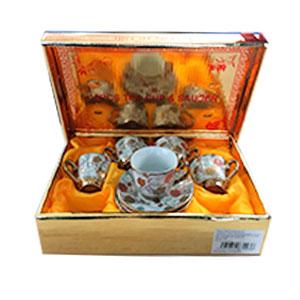 Caja de regalo con 6 tazas y platos de café Turco diseño flores