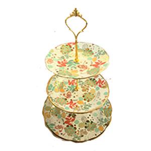 Plato pastelero de porcelana en 3 niveles diseño flores
