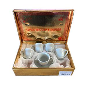 Caja de regalo con 6 tazas y platos de café Turco blancos liso