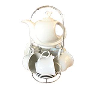 Juego de tetera  6 tazas con plato en base de metal diseño blanco liso