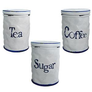 Juego de 3 recipiente de cerámica blanca con azul Te  Café y Azúcar de 15cm