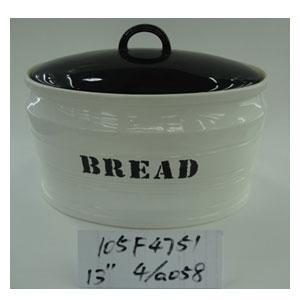 Panera oval de cerámica blanca con tapa negra de 33cm