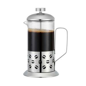 Prensa Francesa cromada con diseño granos de cafe de 800ml