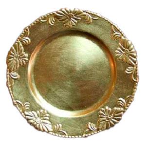 Plato de presentación con relieves en el borde dorado de 37cm