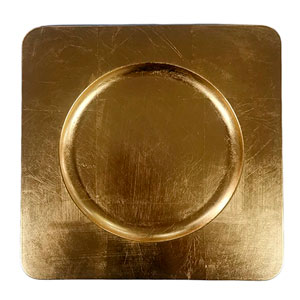 Plato de presentación cuadrado color dorado de 33 x 33cm  oro