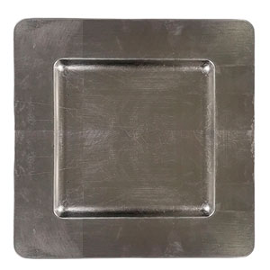 Plato de presentación cuadrado color plata de 33 x 33cm  plata
