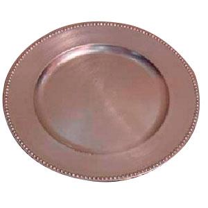 Plato de presentación con perlas redondo color plata de 33cm