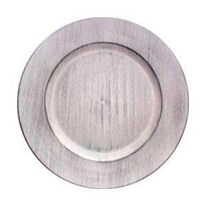 Plato de presentación redondo blanco patinado de 33cm
