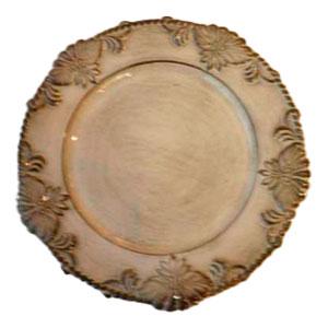Plato de presentación con relieves en el borde blanco patinado de 33cm
