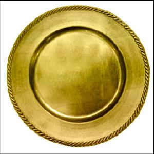 Plato de presentación dorado con orilla diseño trenzado de 33x33x2cm
