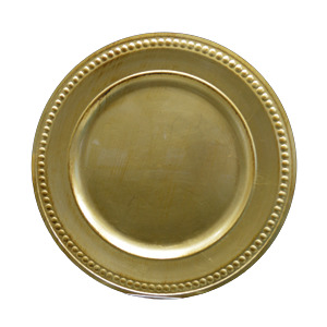 Plato de presentación terminado dorado antiguo de 35.5x35.5x2cm