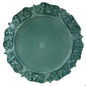 Plato de presentación verde con orilla diseño grecas de 33x33x2cm