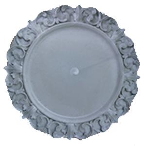 Plato de presentación gris con orilla diseño grecas de 33x33x2cm