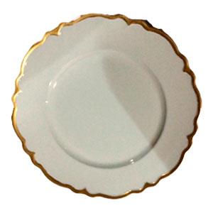 Plato de presentación blanco con filo dorado de 33x33x2cm