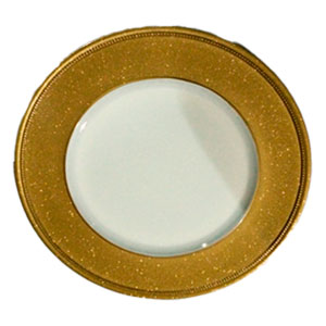 Plato de presentación blanco con orilla de gliters dorados de 33x33x2cm