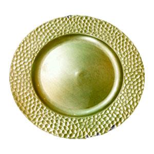 Plato de presentación dorado con diseño grumos en la orilla de 33x33x2cm
