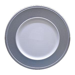 Plato de presentación blanco con orilla de gliters plateada de 33x33x2cm