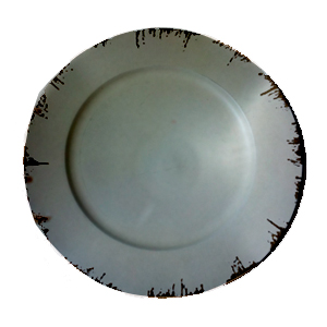 Plato de presentación terminado antiguo gris de 35x35x2cm