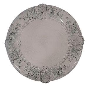 Plato de presentación rustico grabado en la orilla blanco/negro de 35x35x2cm