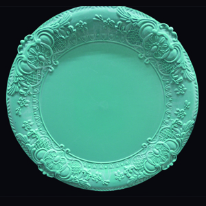 Plato de presentación verde de 38x38x2cm