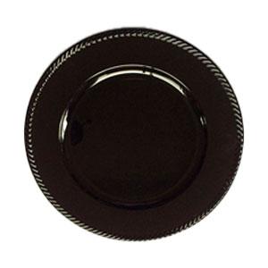 Plato de presentación negro con orilla trenzada de 33x33x2cm