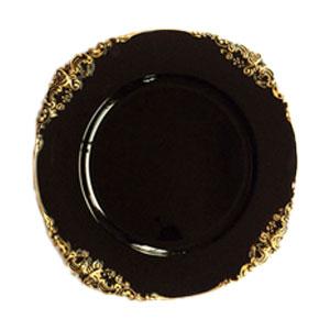 Plato de presentación negro con grecas doradas en la orilla de 35x35x2cmcm