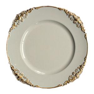 Plato de presentación blanco con grecas doradas en la orilla de 35x35x2cmcm