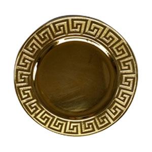 Plato de presentación dorado con grecas en la orilla de 33x33x2cm