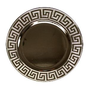 Plato de presentación plata con grecas en la orilla de 33x33x2cm