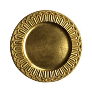 Plato de presentación dorado con arcos en la orilla de 36x36x2cm