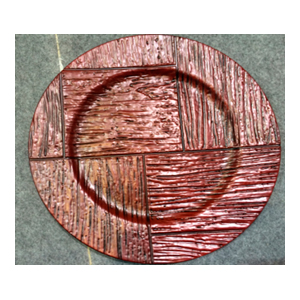Plato de presentación imitacion madera, rojo con negro de 33x33x2cm