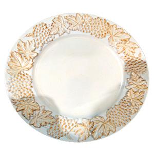 Plato de presentación blanco con orilla diseño uvas doradas de 35x35x2cm