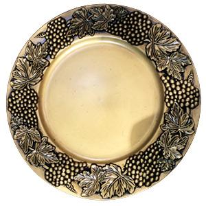 Plato de presentación dorado con uvas doradas de 35x35x2cm