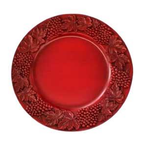Plato de presentación rojo con uvas de 35x35x2cm
