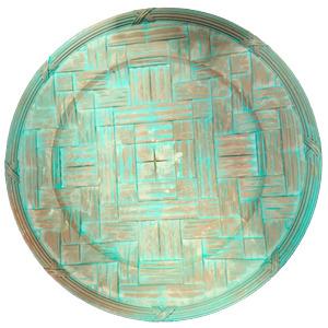 Plato de presentación diseño madera gris con azul de 35x35x2cm