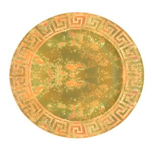 Plato de presentacion con grecas en la orilla terminado oxico con verde de 35x35x2cm