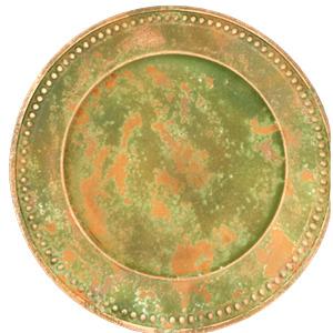 Plato de presentacion rustico con grecas café con verde de 35x35x2cm