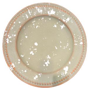 Plato de presentacion rustico con puntos en la orilla beige de 35x35x2cm