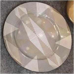Plato de presentación diseño diseño rombos blancos y negros de 33x33x2cm