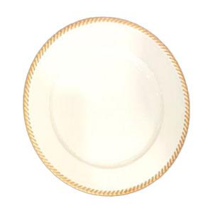 Plato de presentación diseño blanco con orilla dorada de 33x33x2cm